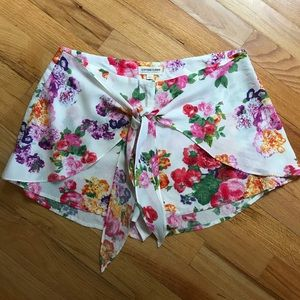 Floral wrap style shorts